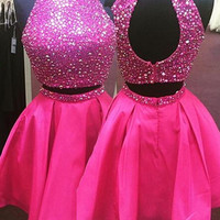 Halter Pink Two Piece Homecoming Dress