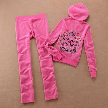 Juicy Couture Crown Logo Flowers Velour Tracksuit 6019 2pcs Women Suits Rose