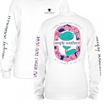 """Simply Southern Long Sleeve """"Narwhal"""" Tee - White"""