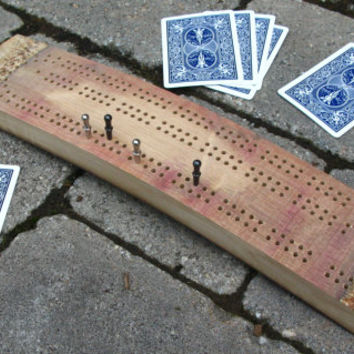Wine Barrel Stave Cribbage Board - In The Raw