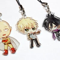 Saitama, Genos, Sonic - One Punch Man Hand-Drawn Double Sided Front & Back Anime Acrylic Charms with Phone Strap