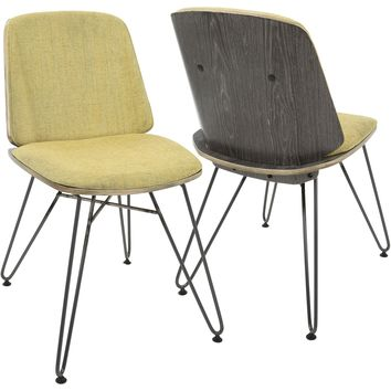 Avery Mid-Century Modern Accent/Dining Chairs, Dark Grey & Yellow (Set of 2)