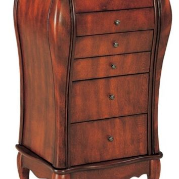 A.M.B. Furniture & Design :: Bedroom furniture :: Jewelry Armoires :: Cherry finish wood jewelry armoire cabinet chest with gentle curves