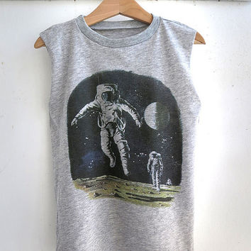 SALE - Kid's Space Shirt, Gray Sleeveless Tshirt with a Colorful Astronaut Print, Cool Gender Neutral Children Clothing, Toddler Clothes
