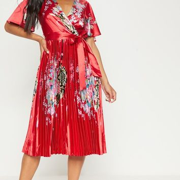 Red Floral Satin Pleated Midi Dress