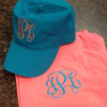 Monogrammed Comfort Color Tshirt AND Hat Set- Short Sleeve Pocket Great for Bridesmaids, Teens, Graduation, Greek, Birthday Gifts