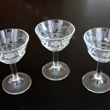 set of 3 vintage etched fluted cocktail glasses // barware glasses bar ware // antique stemware