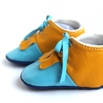 0-3 Months Slippers / Baby Shoes Lamb Leather Mustard Blue