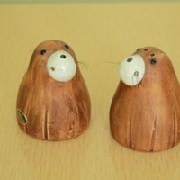60s/70s - IAAC - Mid Century - Brown - Ceramic - Walrus with Whiskers - Salt & Pepper Shakers - Japan