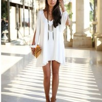 Sexy New Women V-neck Loose Round Neck Strapless A-line Casual Skirt Mini Dress
