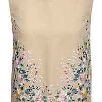 Beige Darya Embroidered Cotton Top
