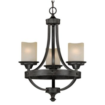 3-Light Aged Walnut Chandelier Rustic Lodge Gothic