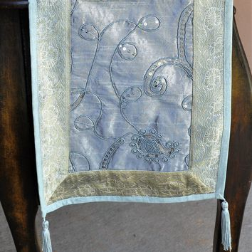 """Silver Luxury Silk Table Runner with Sequins Embroidery and Brocade Border 60"""" x 12"""""""