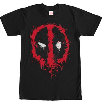 Deadpool Splatter Shirt - Mens Black Tshirt