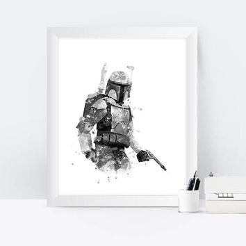 jango Fett Art Print Watercolor Black and white Star Wars Hunter Printable Darth Vader Boba Fett Poster jango Fett Watercolor Gift İdea