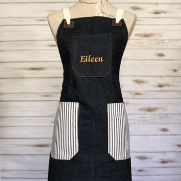 Personalized Apron- Cross-back, Denim and Ticking Apron