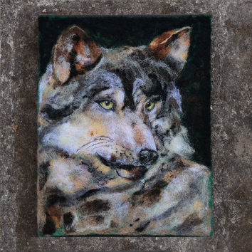 Wolf Painting, Wolf Art, Wolf Wall Decor, Fiber Art, Textile, Felt Art, Needle Felted Art, Wildlife Art, Wolf Portrait, Animal Painting