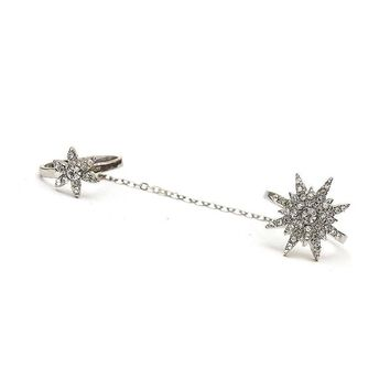 Gold Crystal Starburst Chain Linked Ring