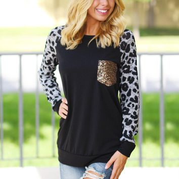 Black Leopard Sweater with Sequin Pocket