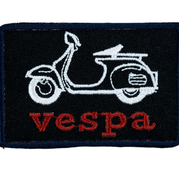 Black Vespa Scooter Patch Iron on Applique Alternative Clothing Big Bang Theory