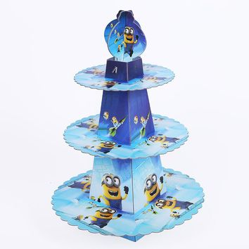1set Minions Princess 3-tier Paper Cake Stand Baby Shower Supplies Kids Birthday Party Decoration Cupcake Stand Candy Bar