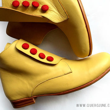 Bootie Yellow - Free shipping *** Leather boot. Woman boots. Handmade in Argentina