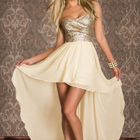 Gold Strapless Sequined Top Asymmetrical Hem Maxi Dress