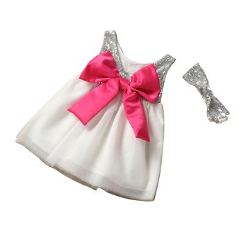 Children's Baby Girl Sequins Dress Bow Backless Layered Tulle Party Formal girls Dress Halter bow tie dress