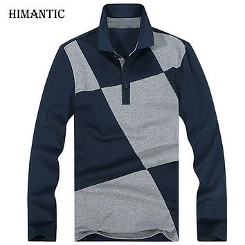 Men Long Sleeve Polo Shirt Men Casual Design lattice Stitching Polo Men Cotton Breathable Shirts