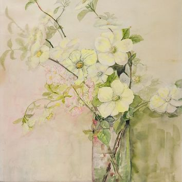 Pale Floral Still Life Watercolor Painting