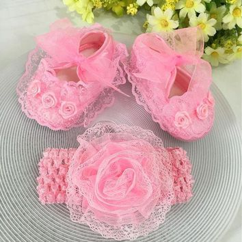 Kids Flowers Shoes Girl Princess Lace Headband Cute Infant Girl Toddler Shoes Set Newborn Photography Props 5tx14