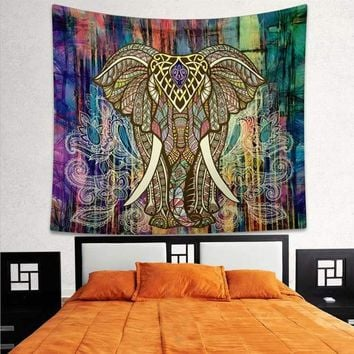 Tapestry with Psychedelic Elephant Mandala Design