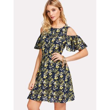 Black Round Neck Cold Shoulder Floral Print Dress
