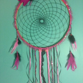 Large Dream Catcher Mermaid Hippie Gypsi Pink and Black