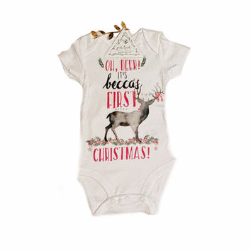 OH DEER It's My First Christmas DEER custom name boho Rustic Deer Onesuit® baby one piece baby clothes / First Christmas Gift