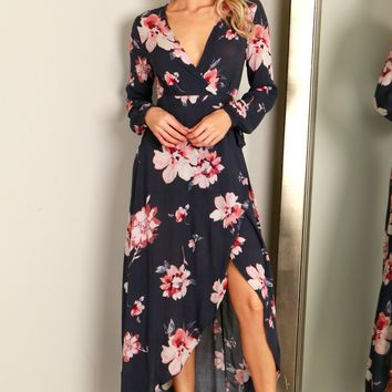 Floral Long Sleeve Maxi Wrap Dress Charcoal