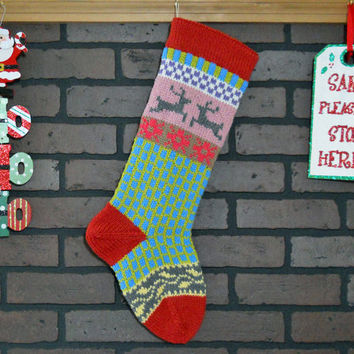 Christmas Stocking Hand Knit in Rouge Red, Fair Isle Knit Stocking with Yellow Ivy and Grey Reindeer, can be personalized