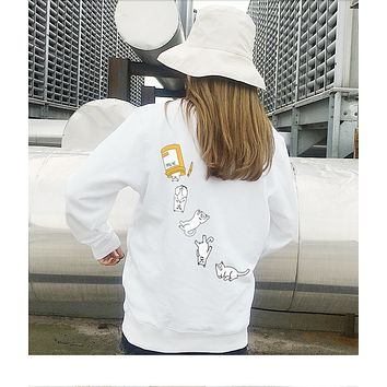 RipNdip Tide brand low-cat middle finger cat white hat-free sweater   White