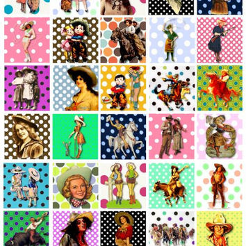 Cowgirls polka dots clip art digital download COLLAGE SHEET 1.5 inch squares cow girls pin up girls printable art for pendants pins magnets