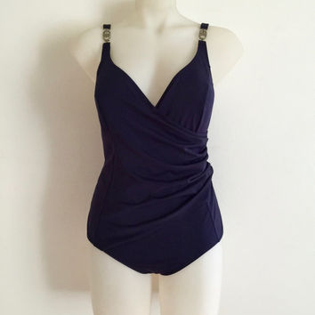 CHRISTIAN DIOR!!! Vintage 90s 'Christian Dior' navy lycra one piece swimsuit with gathered crossover front and silver 'CD' logo strap clasps