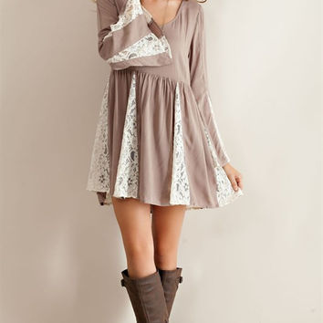 Lace Contrast Baby Doll Dress - Mocha
