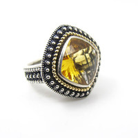 Sterling Silver 14K Citrine Ring. Cushion Cut Bezel Set Golden Citrine Quartz Gemstone Ring. Statement Designer Style Ring.