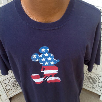 Patriotic Flag Disney Mickey Mouse American Flag T Shirt Stars and Stripes USA Flag size XL Mouse Has Matching TWIN version in Grey