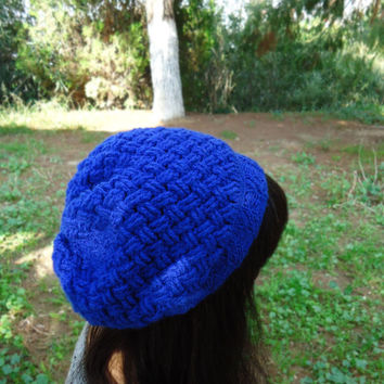 Blue women's crochet beanie hat, chunky basket weave winter cap, women's wool stocking cap, womens knit hat,slouchy blue hat