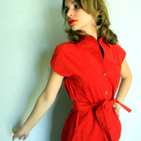 SALE Vintage Suede Dress Summer Medium Red LIpstick Shirt Dress. Cocktail Dress. Primary Color. Back to School Fall Autumn Colors Spring