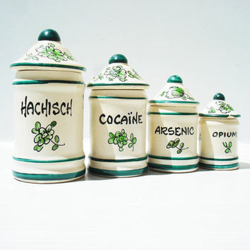 French Apothecary Jar Set. Cocaine, Hashish, Arsenic and Opium.