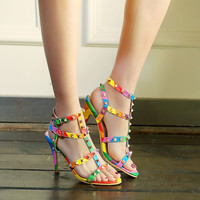 Stylish Design Summer High Heel Rivet Shoes Plus Size Sandals [4920243012]