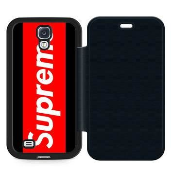 Supreme Leather Wallet Flip Case Samsung Galaxy S4