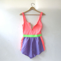 vintage 80s swimsuit. Swimsuit with Shorts. Neon bathing suit. Neon Pink and Blue