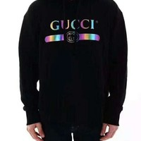 GUCCI 2019 new tide brand gradient letter printing men and women models hooded hoodies